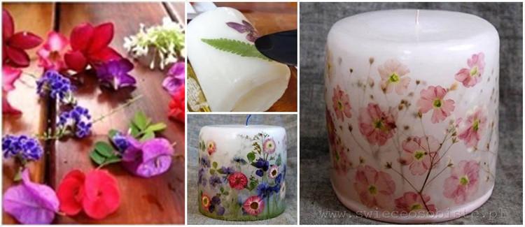 Bougies personnalisées avec des fleurs séchées