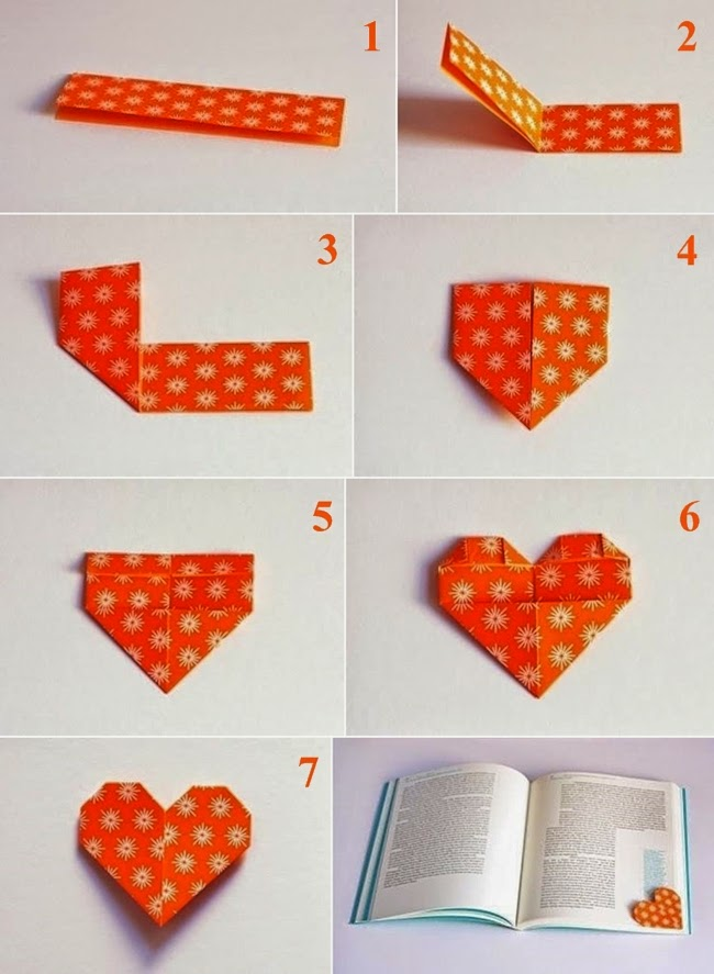 f te des m res un marque page en forme de coeur fait en origami les bonnes id es loisirs. Black Bedroom Furniture Sets. Home Design Ideas