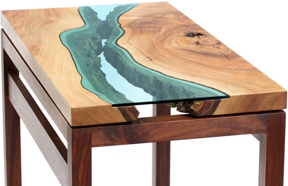 Collection river du verre et du bois pour imiter la - Place du verre a eau sur une table ...