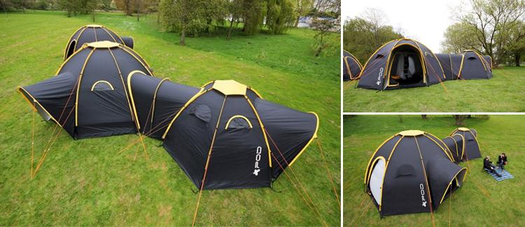 des toiles de tentes modulaires et reliables par des tunnels les bonnes id es voyage. Black Bedroom Furniture Sets. Home Design Ideas