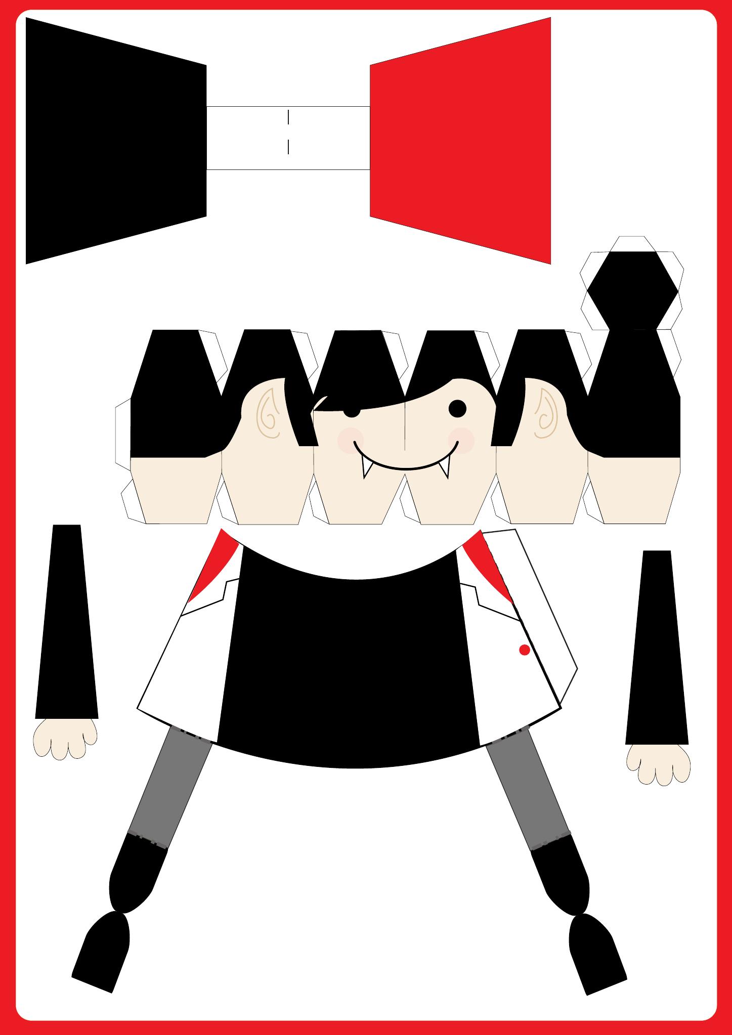 Un papertoy vampire à réaliser pour sa déco d'Halloween | Photo : www.paper-toy.fr